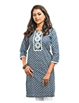 Almas Women's Cotton Regular Fit Kurti (ALM-KUR-100087_S, Navy Blue, Small)
