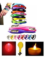 Sangaitap 3 Pes Unisex Silicon Sports Wrist Watch/Bracelet + (1+1 Pes) Diwali Spcl Led Candle+Led Ballon(Combo Offer)