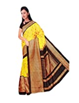 RoopSangam Printed Yellow Color Cotton Silk Saree (Daily And Party Wear)