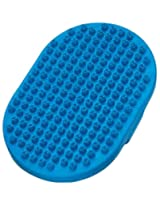 Master Grooming Tools 5-1/4-Inch Rubber Pet Oval Curry Grooming Brush with Handstrap, Blue