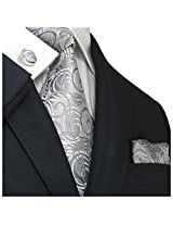 Landisun 102 Silver Gray Geometric Pattern Mens Silk Tie Set:Tie+Hanky+Cufflinks