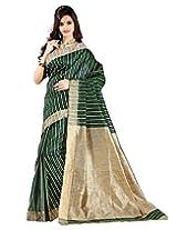 E-Vastram Cotton Silk Banarasi Saree (3Pparrot _Green)