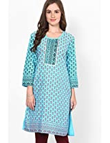 Cotton Aqua Blue Kurti