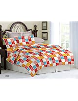 Bombay Dyeing Ambrosia 130 TC Cotton Double Bedsheet with 2 Pillow Covers - Red
