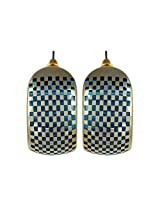Charming Blue Colour Checkers Theme Designer Earrings By Lazreena