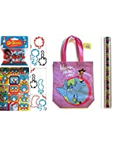 Dr. Seuss Tote Bag Bracelets, Ruler and Sticker Set - Horton Hears a Who Tote Bag, Plus 20 Piece Assorted Bracelet Bandz, Ruler and Sticker Sheet