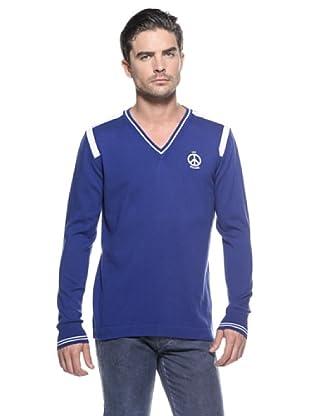 Love Moschino Jersey Cuello V (Azul / Blanco)