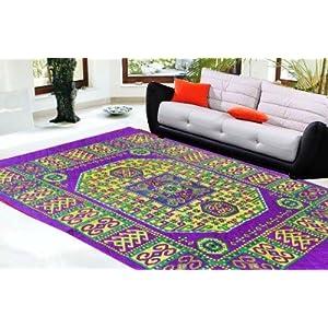 Decorvilla Traditional Design Purple Quilted Carpet