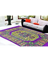 Decorvilla Traditional Design Purple Quilted Carpet