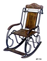 Onlineshoppee Wooden & Iron Rocking Chair ( Black )