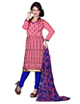 Lookslady Embroidered Pink Chanderi Dress Material