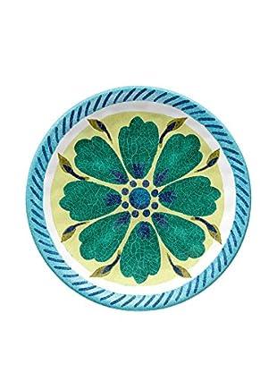 Medallion Melamine Appetizer Plate, Blue/Yellow