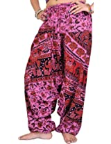 Exotic India Printed Harem Trousers from Pilkhuwa - Color Super PinkGarment Size Free Size