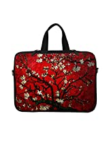 Neoprene Laptop Carrying Case Sleeve Bag w. Hidden Handle & Eyelet (D-Ring) for 13 13.3 Inch Notebook - Vincent van Gogh Cherry Blossoming