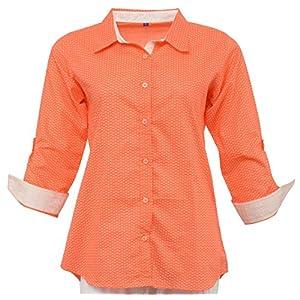 Olivia Women's Geometric Print Peach Shirt