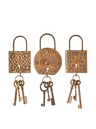 Set of 3 Assorted Lock & Key Wall Décor