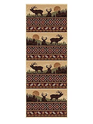 Universal Rugs Nature Lodge Runner, Red, 3' x 8'