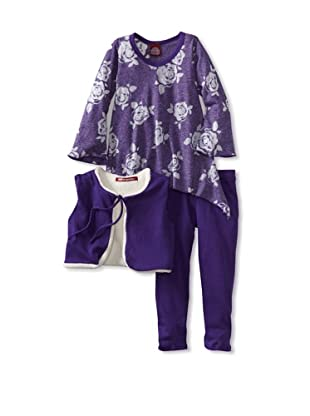 Red Wagon Baby Girl's Bell Sleeve Tunic with Vest and Legging (Amethyst)