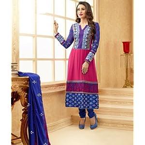 Valuze Karishma Kapoor Anarkali Suit - Blue & Pink