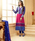Valuze-Karishma Kapoor Blue And Pink Georgette Anarkali Suit
