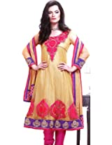 Exotic India Khaki Choodidaar Kameez Suit with Crewel Embroidery on Neck - KhakiGarment Size Send as Unstitched
