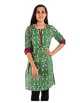Diva Womens Cotton Self Print Straight Kurta (Divakurti_07_42_Green)