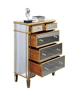 Florentine 5-Drawer Cabinet, Gold Leaf/Clear Mirror