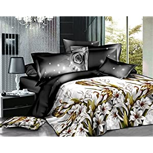 Story@Home  3D Impression Magical Flowers Beautiful Polycotton Bedsheet with 2 Pillow Covers - King Size, White (AIM1235)