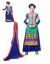 Women Light green & blue coloured salwar kameez look dress material un stiched