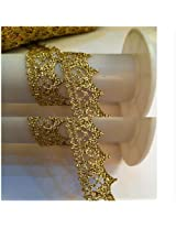 30meters gold thread rayon wave lace fabric 1.5cm width sewing lace trim DIY craft wedding doll dress.