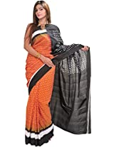 Exotic India Adobe-Brown and Black Ikat Saree from Pochampally with Wov - Orange