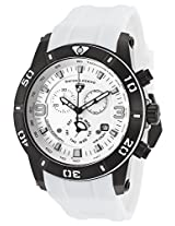 Everest Chronograph Silver-Tone Dial White Silicone Strap Black Case (10164-Bb-02-Ws)