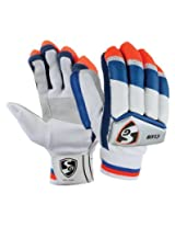 SG Club Right Hand Batting Gloves, Boy's (White/Blue/Red)