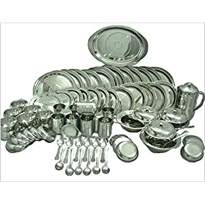 RBJ Stainless Steel Dinner Set 81 Pcs Silver Touch Best Quality Mirror Finish Heavy Gauge