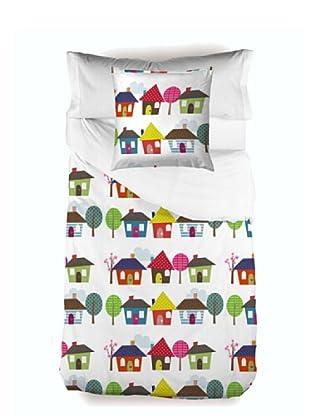 Little W Juego de Funda Nórdica 3 piezas Happy Homes (Multicolor)
