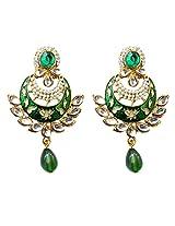 Dhwani Creation Drop Alloy Earrings For Girls and Women (Green)