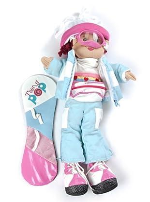 My Doll Stoffpuppe Dusha Snowboard blau