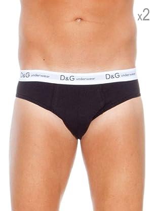 D&G Pack 2 Slips Print (Negro)