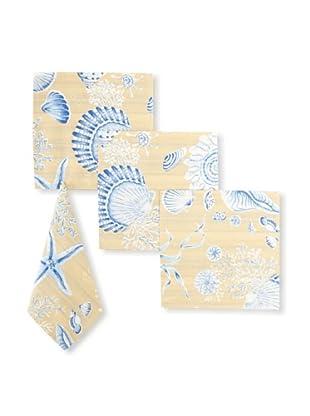 Set of 4 Seashells Napkins, Tan/Blue, 17