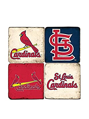 Studio Vertu Set of 4 Cardinals Logoed Tumbled Marble Coasters with Stand