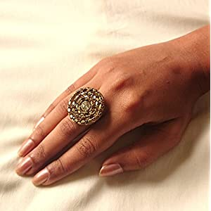 No Strings Attached Gold Spiral Crystal Finger Ring