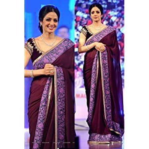 Sri Devi Sari With Designer Velvet Blouse