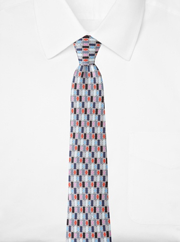 Emilio Pucci Men's Grid Tie, Blue/Red