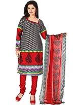 Vardhman Black White Cotton Jacquard Unstitched Straight Salwar Suit dress material