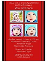 2 + 2 On Red & Black 1st Birthday Invitations Set Of 20
