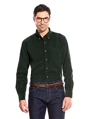 Cortefiel Camisa Liso Pana (Verde Oscuro)