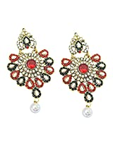 Surat Diamond Floral Shaped Red, Green & White Coloured Stone Chandbali Earrings for Women (PSE46)