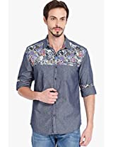 Blue Printed Slim Fit Denim Shirt Locomotive