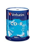 Verbatim 700MB 52x 80 Minute Branded Recordable Disc CD-R - 100-Disc Spindle, FFP 97458