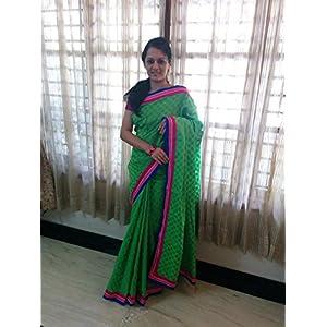 SevenFolds Parrot Green Chanderi Cotton Designer Saree